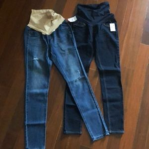 Two pairs maternity skinny jeans